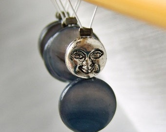 Man in the Moon - Fairy Tale Series - Five Handmade Stitch Markers - 6.0 mm (10 US) - Limited Edition