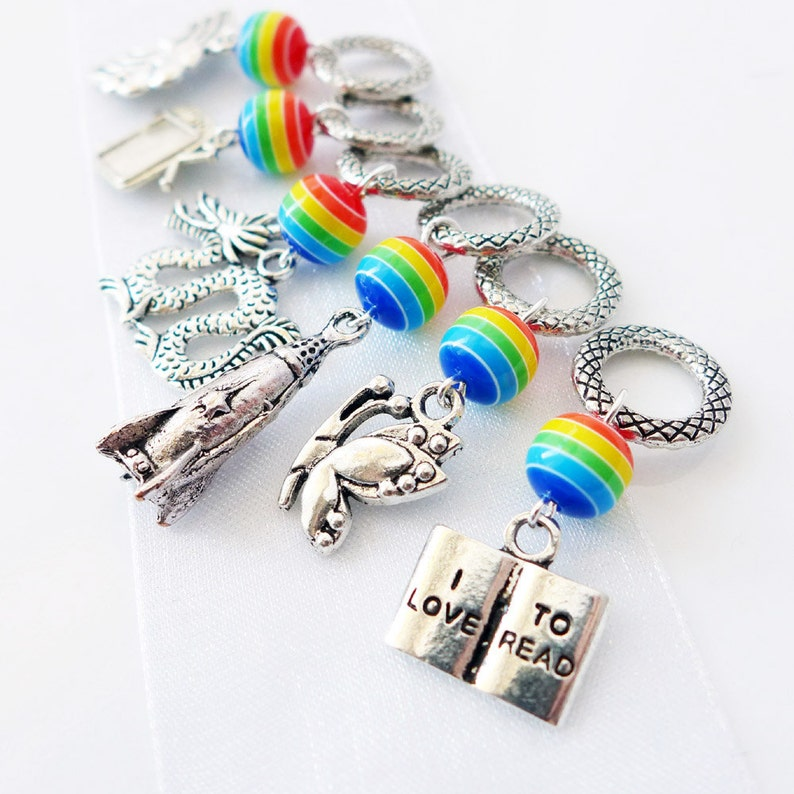 Reading Rainbow  Six Stitch Markers  Handmade Gifts for image 0