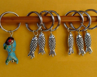 pewter and cloisonne beads knitting 6+1 Stitch marker stone
