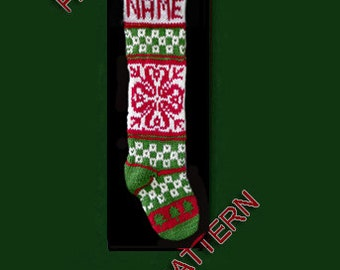 Pattern only  ---  Hand knit Christmas stocking,  snowflake and tree
