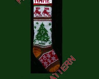 Hand knit Christmas stocking,  snowflake, tree and deer