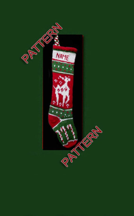 Hand knit Christmas stocking, pattern only, reindeer and candy canes ...