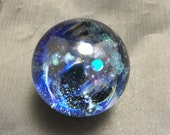1.52 quot Space Glass Marble with Crescent Moon and Spherical Opal