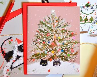 Funny Christmas Card - Under the Christmas Tree - Christmas Cat Card