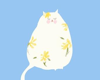 Flower Power- Spring Art - Cat Print - Cat Painting