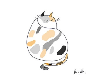 Calico Cat Print - Cat Art - Modern Art - Cat Illustration