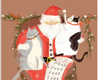 Funny Christmas Card - All I want for Christmas is Food - Christmas Cat Card - Cat Mom Cat Dad Holiday Card