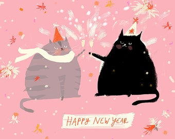Happy New Year Card - New Years Cards - Happy New Year Cat Card - 2019