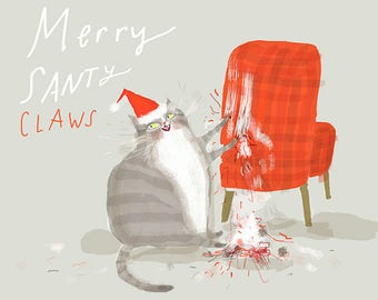 Funny Christmas Card - Merry Santy Claws - Christmas Cat Card - Cat Mom Cat Dad Holiday Card