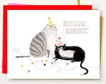 Cat Birthday Card - Grey & Tux - Happy Birthday - Cat Mom or Cat Dad Card