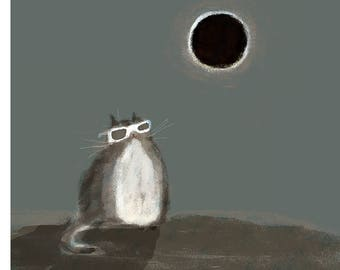 Solar Eclipse Art - Cat Print - Solar Eclipse Cat