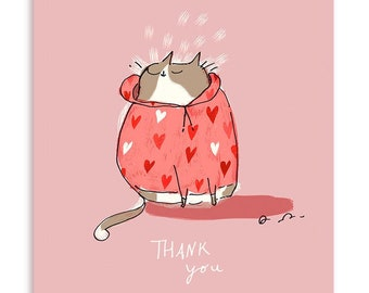 Thank You Cat Card - Heart Hoodie