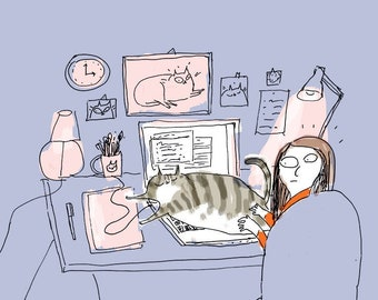 Home Office Cat Print- Don't Work Too Hard - Cat Art - Work From Home - Stay Home Art - Office Assistant