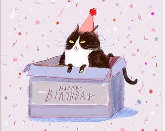 Happy Birthday Cat Card - Birthday Box - Funny Birthday Card