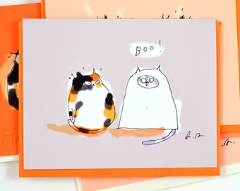 Funny Halloween Card - Boo - Cat Lover - Cat Costume - Halloween Cat Card