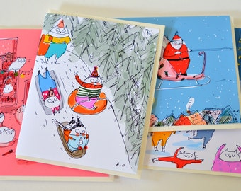 Classic Christmas Cards- Mixed Set of 5 - Christmas Cat Cards