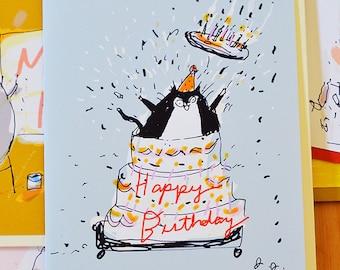 Giant Cake - Funny Birthday Card - Cat