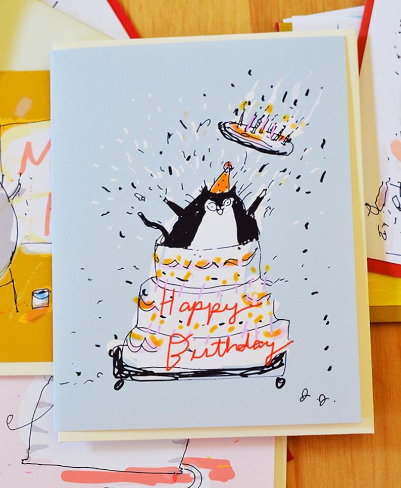 Giant Cake Funny Birthday Card Cat