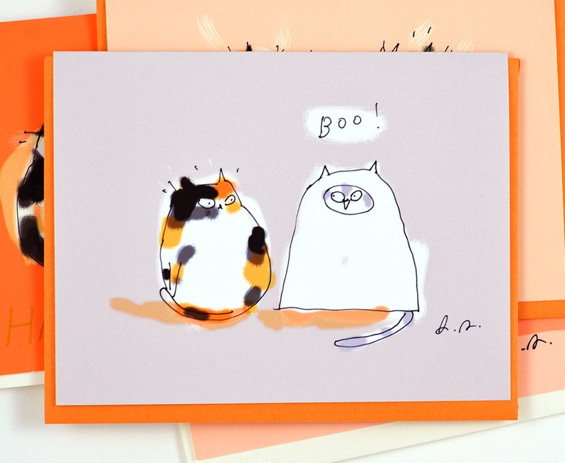 Funny Halloween Card  Boo  Cat Lover  Cat Costume  image 0