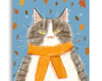 Fall Vibes Cat Card