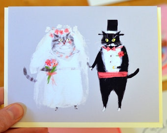 Wedding Card - Bride and Groom Cats - Wedding Cat Card by The Dancing Cat