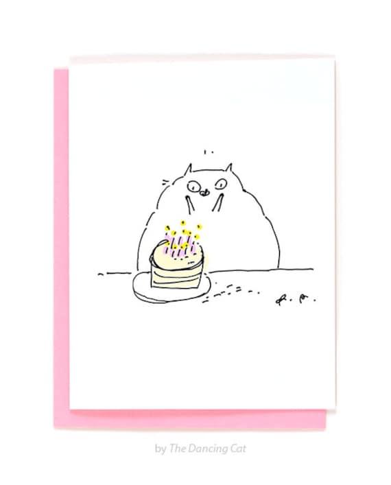Smieszna Karta Urodzinowa Wee Hands Kocia Karta Urodzinowa Etsy