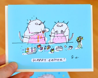 Easter Card - Easter Egg Painting - Funny Easter Card - Cat Easter Card - The Dancing Cat