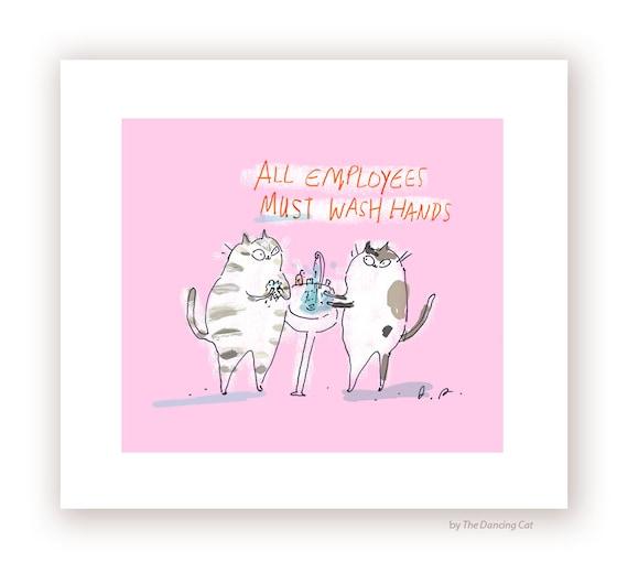 Wash Hands Sign Cat Funny Cat Print Bathroom Art Bathroom Etsy
