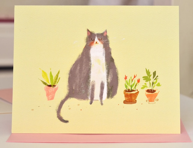 Cat Plant Card - Thinking of You - Cat Lover- Succulents