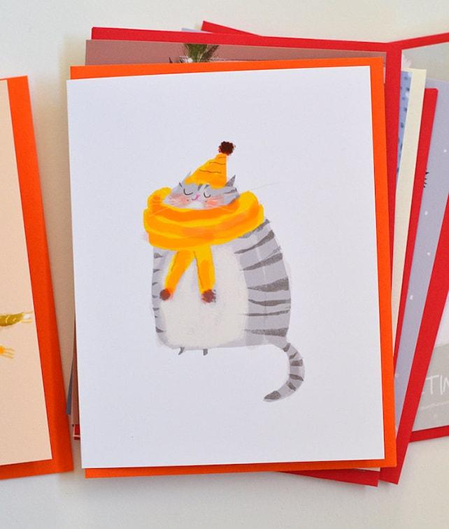 Cozy Cat Yellow Scarf Grey Cat Card