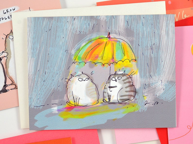 March Spring Card Thinking of You Card Cat Card Rainy Day Friend
