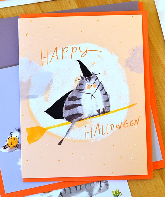 Halloween Cat Card - Broomstick Cat