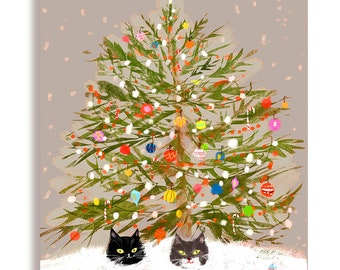Under the Christmas Tree - Christmas Cat Card - Purple/Grey Background - Funny Christmas Card - Limited Edition Color