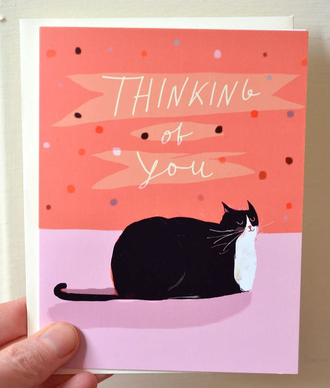 Thinking of You Card - Tuxedo Cat Card - Cat Lover