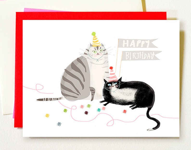 Cat Birthday Card Grey Tux Happy Mom Or