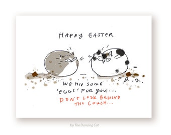 Funny Easter Card - Easter Cat Card - Easter Eggs