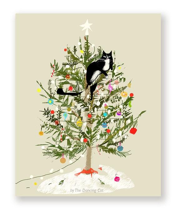 Funny Christmas Card Christmas Tree Cat Cat Christmas Card