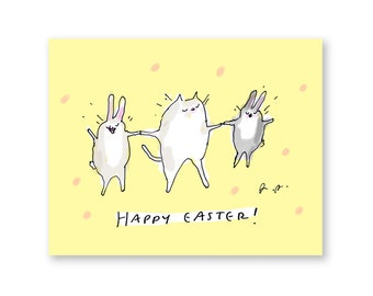 Funny Easter Card - Easter Dance - Easter Cat Card with bunnies