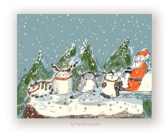 Funny Christmas Card - Cat - Reindeer Cats - Christmas Cat Card - Christmas Fail