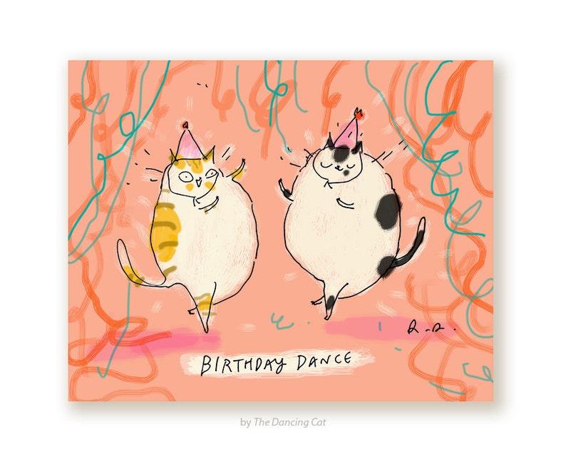 Dance Grappige Verjaardagskaart Verjaardag Kat Etsy
