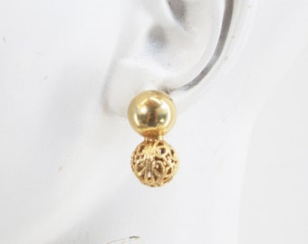 Vintage Gold Tone Double Ball / Circle Pierced Retro Earring
