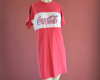Vintage 90's Coca Cola Classic Red and White Logo Sleep Shirt or Day Dress