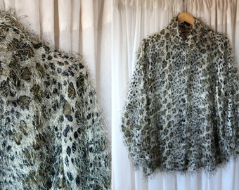 Creative Design Works Black and Gray Animal Print Fuzzy Long Sleeve Button Down Ladies' Vintage Blouse