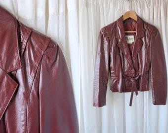 Berman's Vintage Maroon Leather Coat / Woman's Retro Jacket