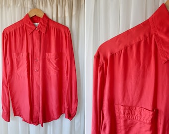 90's Vintage Joule 100% Silk Long Sleeve Button Down Red Hot Long Sleeve Unisex Blouse Top