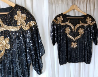 Vintage Black and Gold Sequin Oversize 80's Blouse