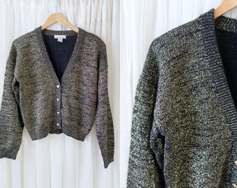 Vintage Cara Soho Vintage Gold Thread and Black 90's Oversize Slouchy Cardigan Sweater