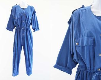 a0f353b6380 Vintage Diane Von Furstenberg Blue Long Sleeve Relaxed Fit Oversize Cinch  Waist Utility Style Retro Woman s Cotton Jumpsuit
