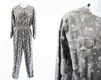772df0c4255 Vintage Chaus Sport Gray and White Floral Print Long Sleeve 80 s Cinch Waist  Woman s Retro Jumpsuit