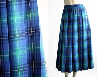 Blue Plaid Skirt Etsy